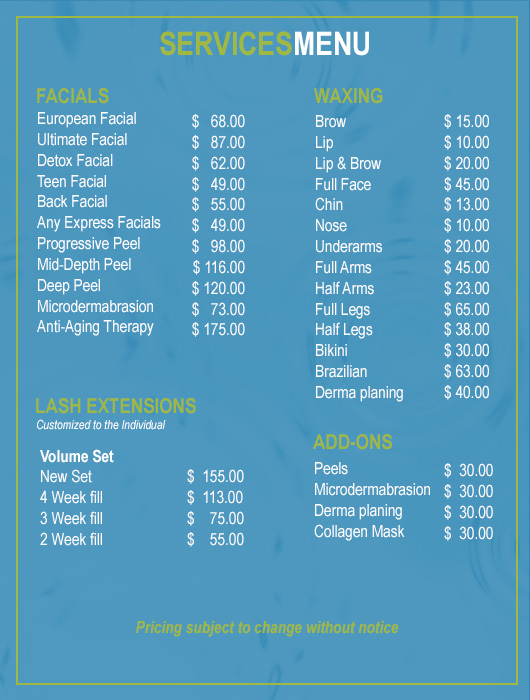 Skin Care Salon Services Menu | Rockwall TX