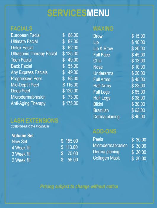 Skin Care Salon Services Menu | Rockwall TX